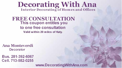Katy Decorator Katy Decorating: Decorating With Ana Coupon
